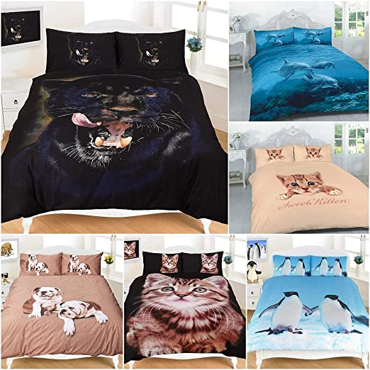 3D Animal Printed Duvet Cover Set Reversible Quilt Bedding Pillowcases All Sizes