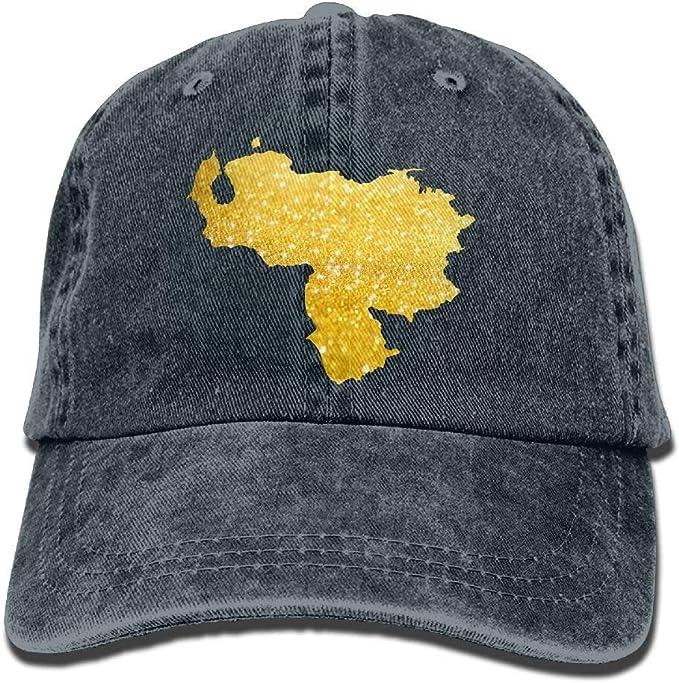 Bidetu Gorra de béisbol Linda de Venezuela con Mapa Denim Dorado ...