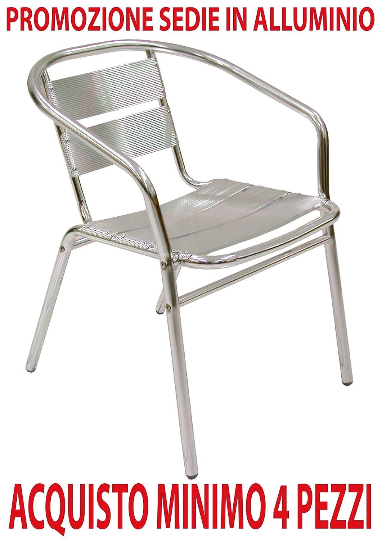 Ordine min. 4 pz Poltrona sedia in alluminio per bar ristorante da esterno giardino balcone catering Savino Filippo