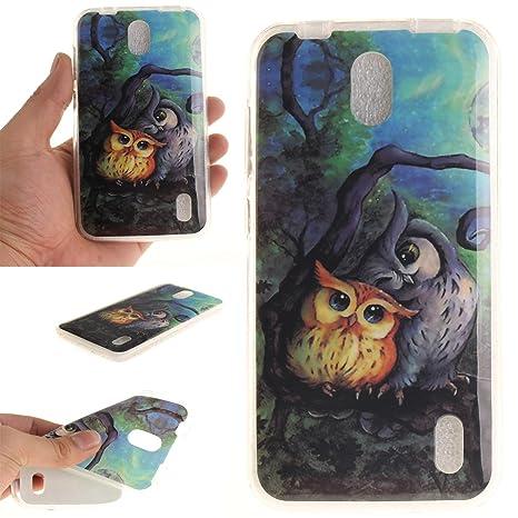 Guran® Silicona Funda Carcasa para Huawei Y625 Smartphone Case Bumper Shock TPU Cover-Pintura al óleo búho