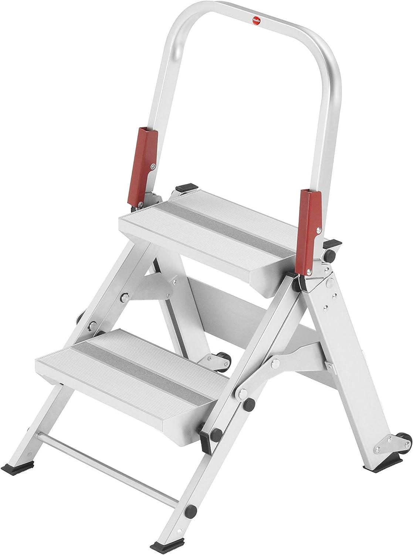 Hailo ST100 TopLine Alu-Sicherheitstreppe 2 Stufen Aluminium 8882-001 silber XXL Alu-Sicherheitstreppe mit klappbarem Sicherheitsb/ügel