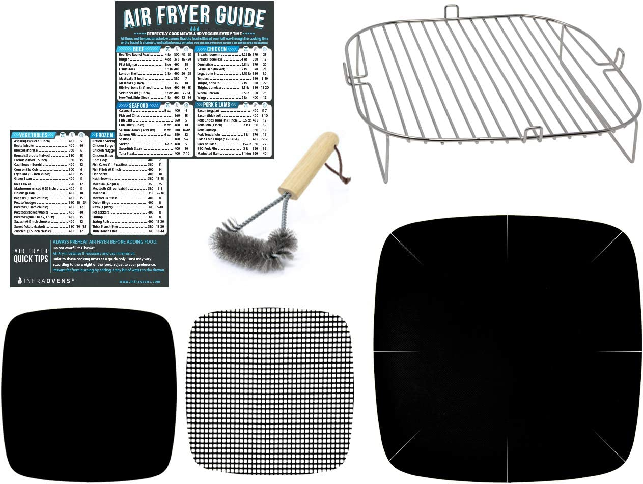 Air Fryer Accessories Compatible with Best Choice Products, ChefWave, Ergo Chef, Master Culinary, Sarki, Cosori, Gourmia, Instant Pot +More | Airfryer Rack Accessory with Cooking Reference Guides