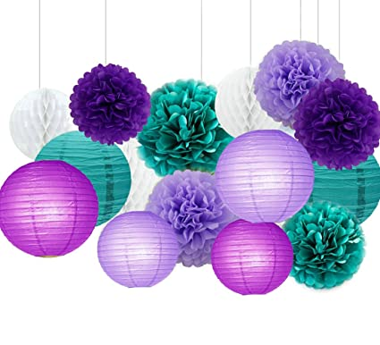 Amazon.com: Sogorge Dark purple Lavender and Teal Blue Tissue Paper ...
