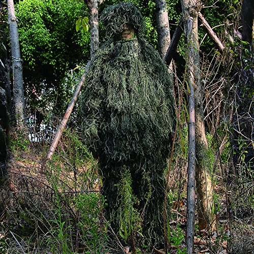 Ghillie Suit, LOOGU Camo Suit Woodland and Forest Design Military Leaf Hunting and Shooting Accessories Tactical Camouflage Clothing Blind for Airsoft, Wildlife Photography Halloween or Party by Ghillie Suits (Image #4)