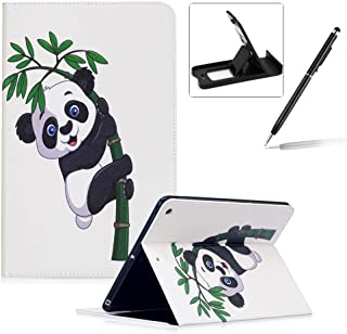Herzzer Coque en PU Cuir pour Apple Nouvel iPad 9.7 2017 Tablette Housse Etui Flip Case ave Stand Fonction Cartes de Crédit Slot Hull Wallet Cover Anti Scratch Soft Silicone Inner Etui de Protection -- Motif Bambou Panda