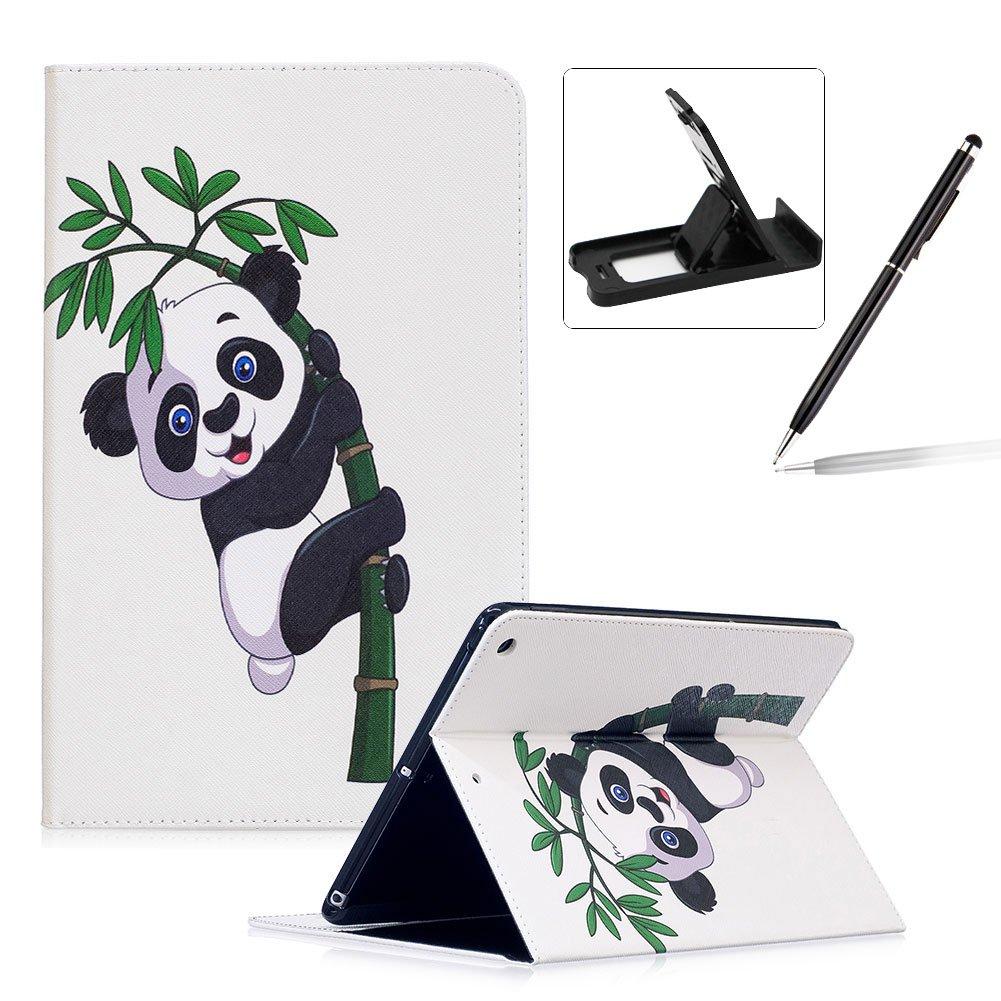 Herzzer Coque en PU Cuir pour Apple Nouvel iPad 9.7 2017 Tablette Housse Etui Flip Case ave Stand Fonction Cartes de Crédit Slot Hull Wallet Cover Anti Scratch Soft Silicone Inner Etui de Protection -- Motif Bambou Panda
