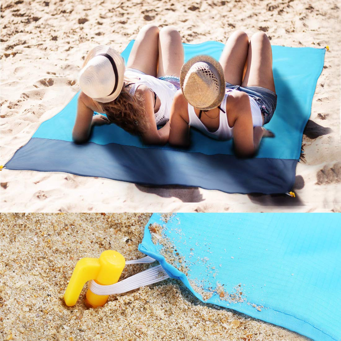 HosDen Alfombras de Playa Manta Picnic Impermeable 140 x 200cm Anti-Arena Plegable Compacto con 4 Estaca Fijo para la Playa Azul + Gris Acampar Picnic y Otra Actividad al Aire Libre