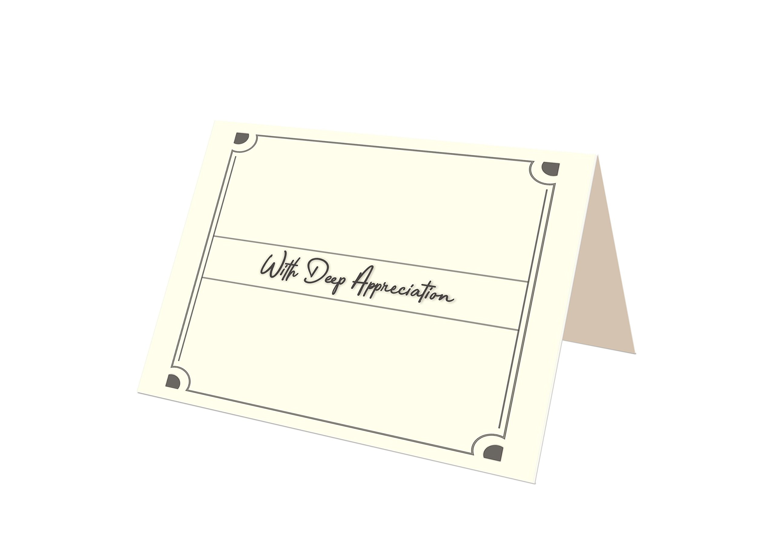 Funeral Memorial Service Thank You Cards & Envelopes (25 Count) (White - Preprinted)