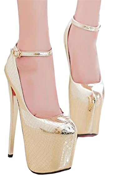 Amazon.com | Anzhuangh Crossdresser Sexy 19cm High-Heeled Shoes Woman Stiletto Patent Leather Serpentine Pumps | Pumps