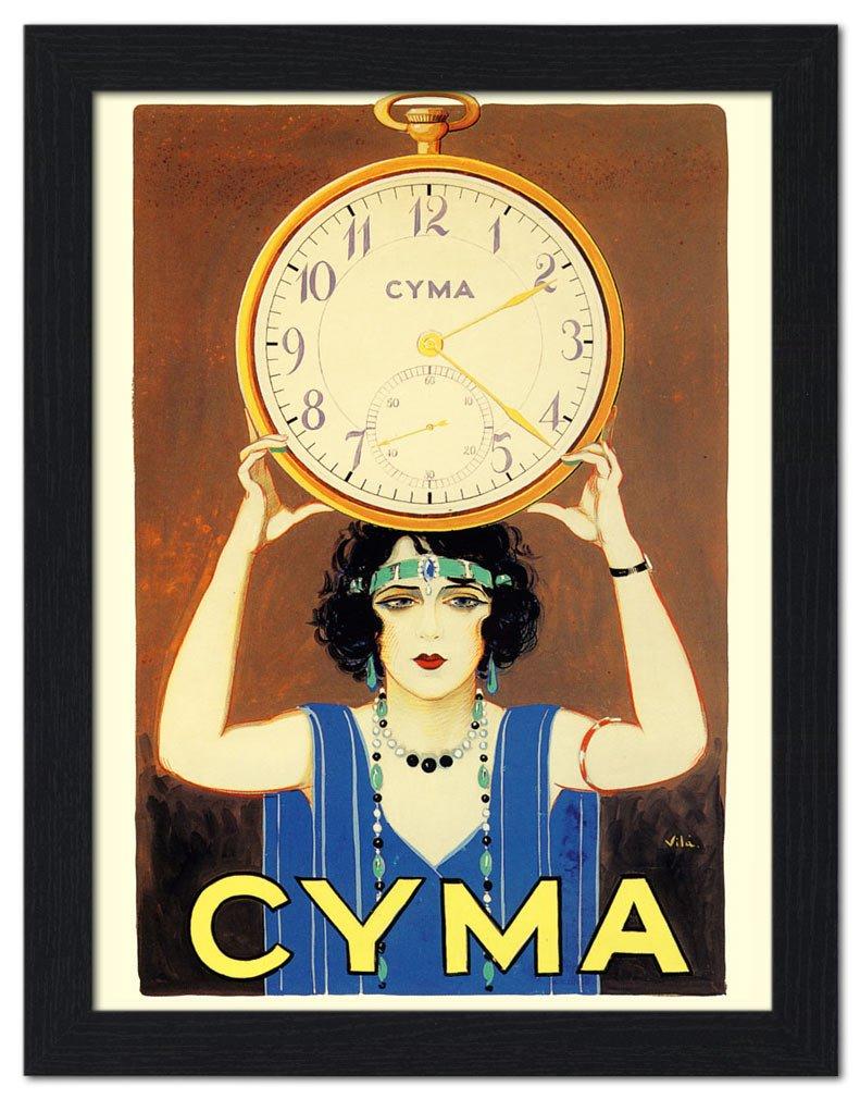 Relojes Cyma anun - impresión enmarcada 32 x 42 cm negro: Amazon.es: Hogar