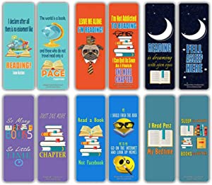 Book Lovers Literary Bookmarks Cards (12-Pack) - Book Markers for Bibliophiles Book Club Gifts - Party Favors Wall Decor Birthday Student Teacher Classroom Incentives Jane Austen Quotes