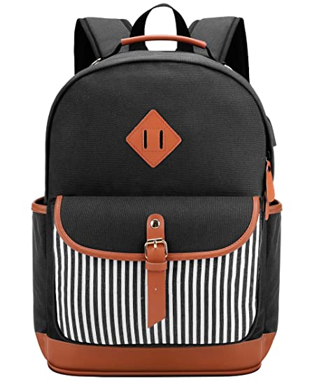 be6067f9e4c3 Meisohua Laptop Backpack Canvas Backpack Womens School Backpack with USB  Charging Port College Backpack Teen Girls High School Bookbag fit 15.6 inch  ...