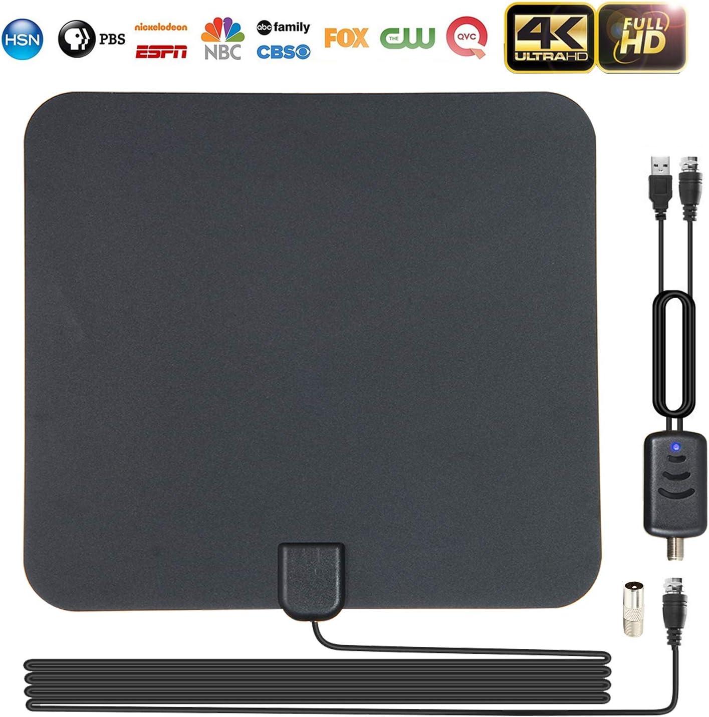 Antenas de TV Interior, leegoal Amplificado 80 Millas de Largo Alcance recepción Libre 1080p 4K Antena de HDTV Digital con Amplificador Desmontable ...