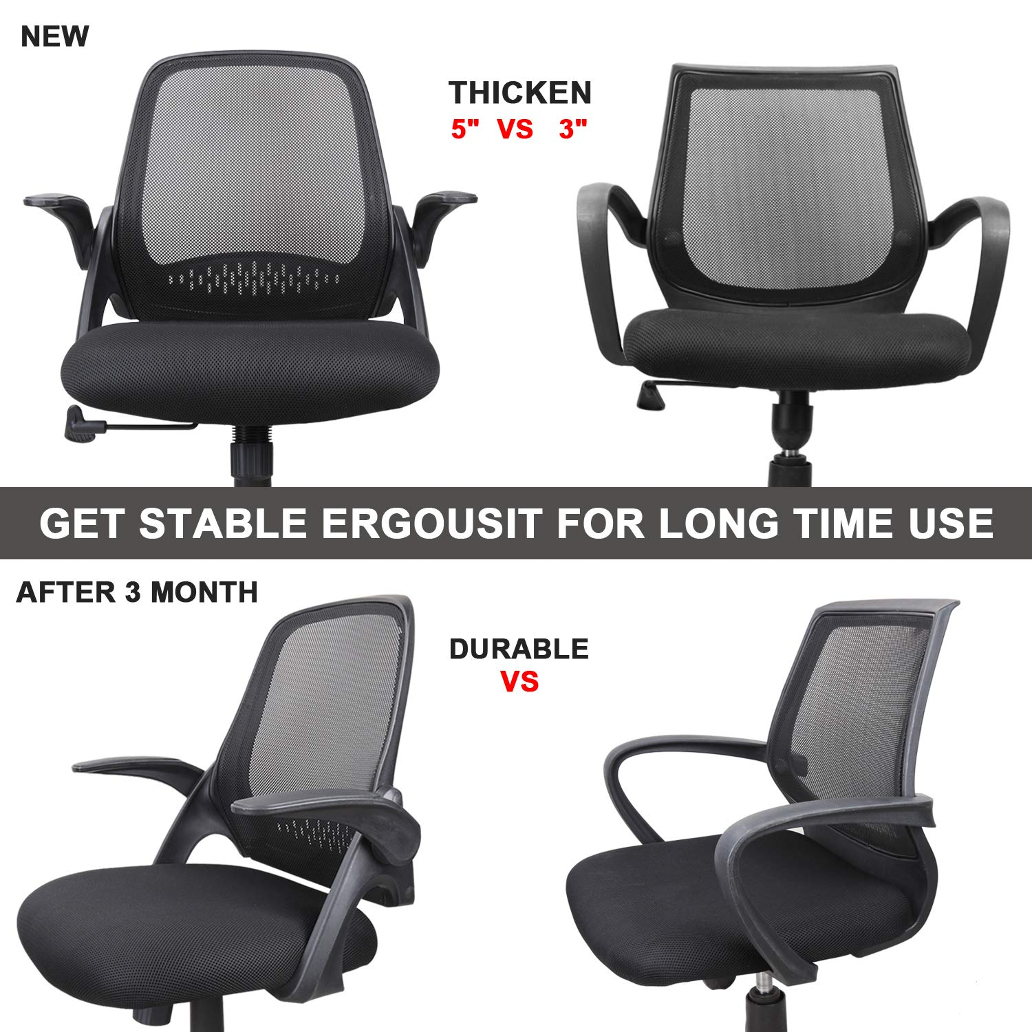 Ergousit Mid-Back Mesh Office Chair, Ergonomic Desk Chairs Swivel Computer Task Chairs with Adjustable Height and Flip-up Armrest - Lumbar Support and Sponge Cushion in Black (Black) by Ergousit (Image #4)