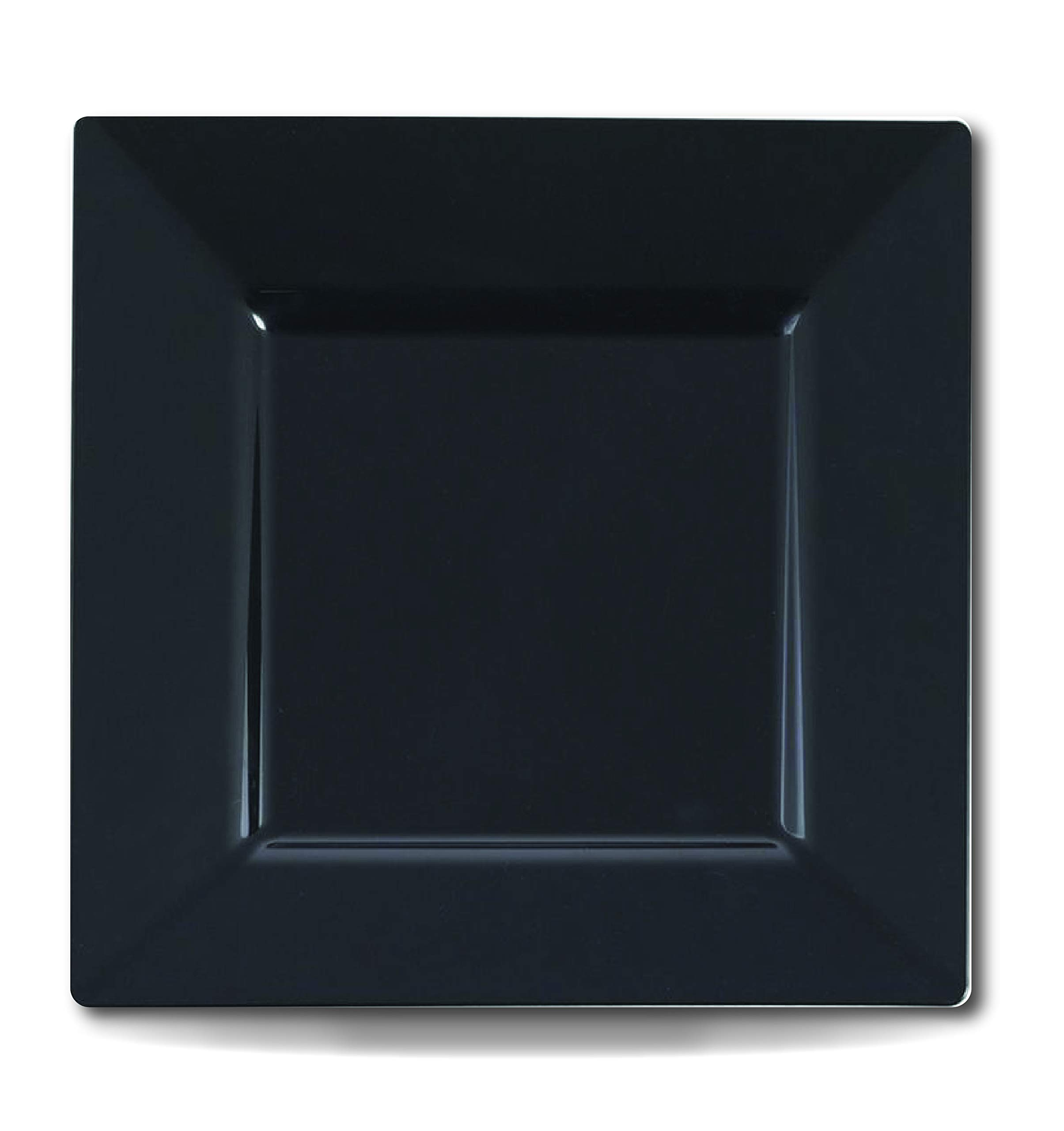 Luxe Party Disposable Elegant 6'' Black Solid Square Plastic Dessert/Coffee Plates