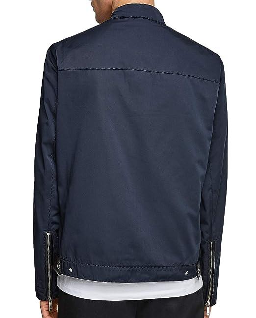 Zara 6719/452 - Chaqueta de Piel sintética para Hombre - Azul - X ...