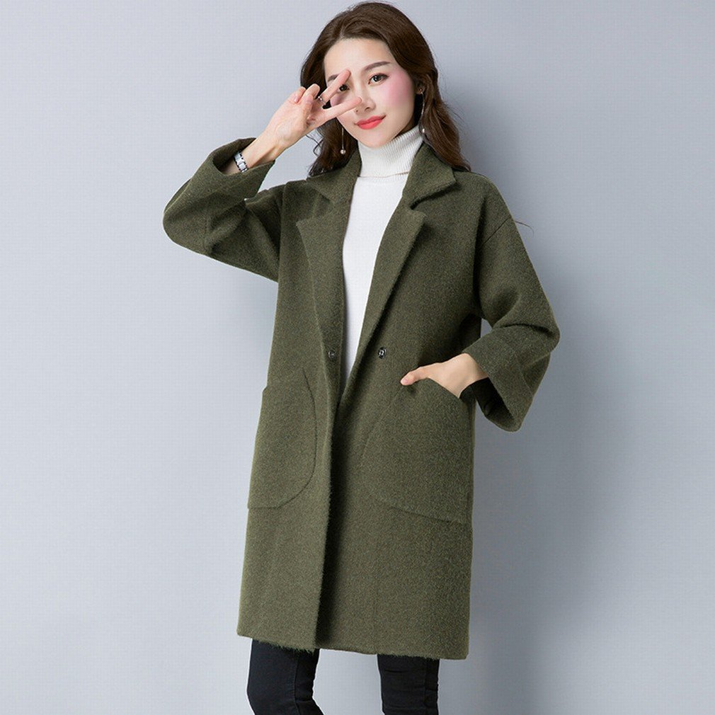 Green TDDT Autumn and Winter Women 'S DoubleOpposite Coat in The Long Section of Loose Sweater Jacket Thickening