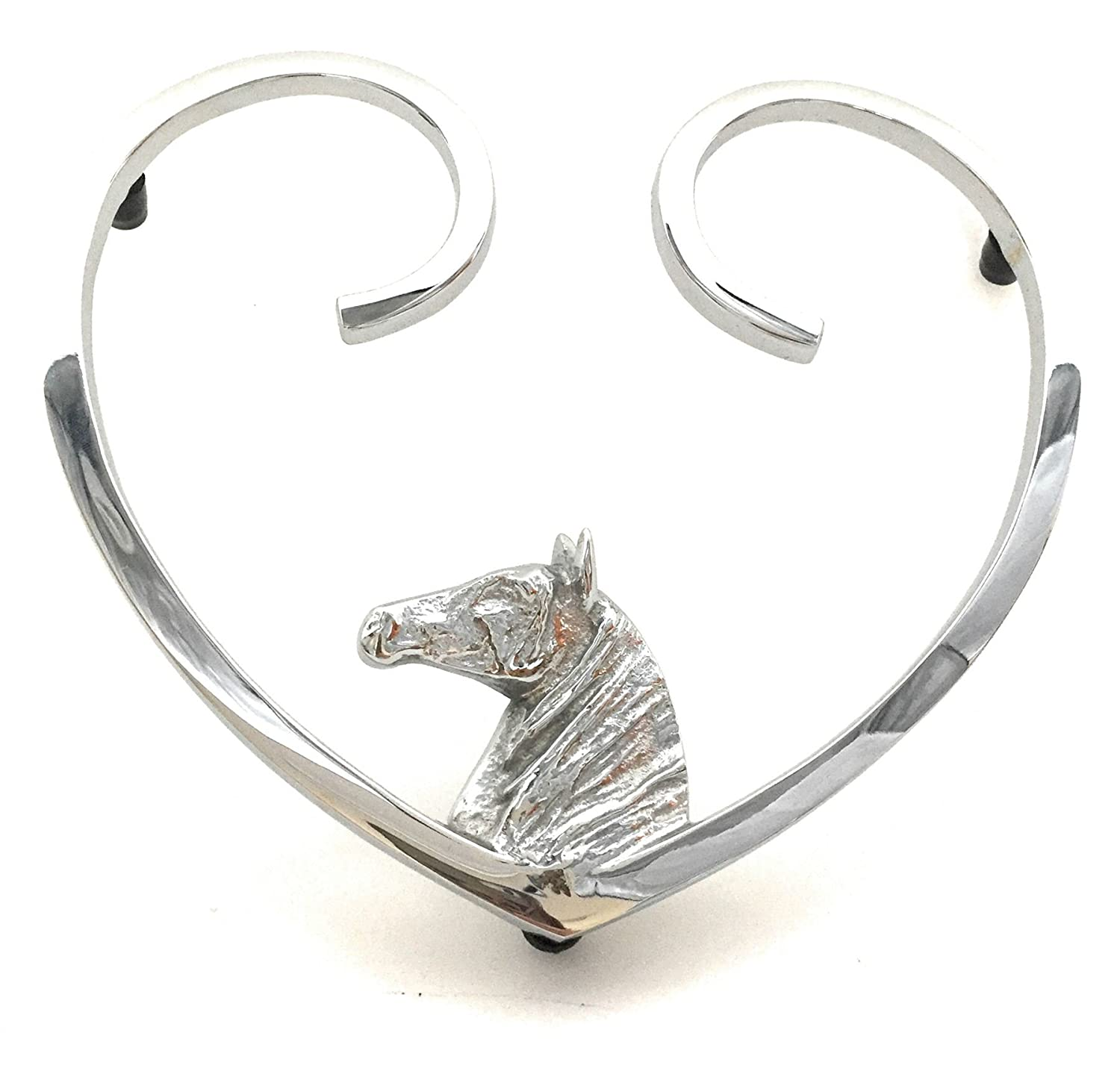 Horse Heart Trivet - Bright Chrome Black Country Metal Works