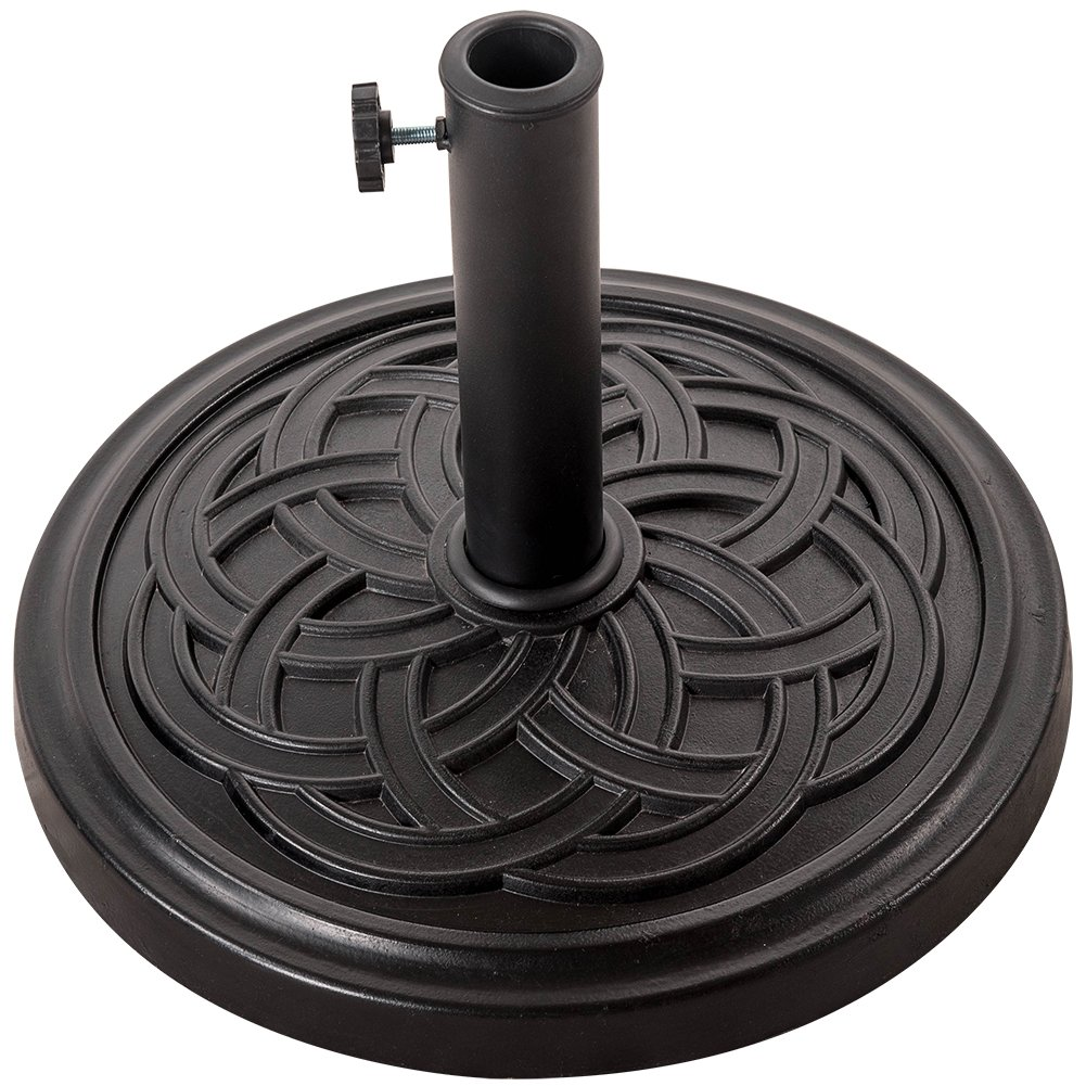 Sundale Outdoor Decorative Cast Stone Patio Umbrella Base Black Resin Heavy Duty Stand, 26 Pounds,Fit 1.5&1.9 inch Umbrella Pole by Sundale Outdoor