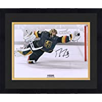 "$189 » Framed Marc-Andre Fleury Vegas Golden Knights Autographed 16"" x 20"" Diving Save vs. Toronto Maple Leafs Photograph…"