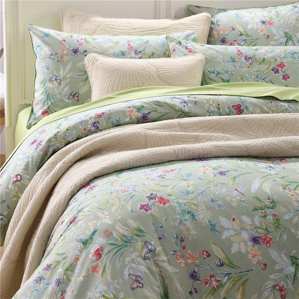 Brandream軽量エジプト綿羽毛布団カバーセット、カラフルな花柄印刷パターン、ホワイトmulti-color-twinサイズ 4pc-King グリーン B0756WWVQX 4pc-King|グリーン グリーン 4pc-King