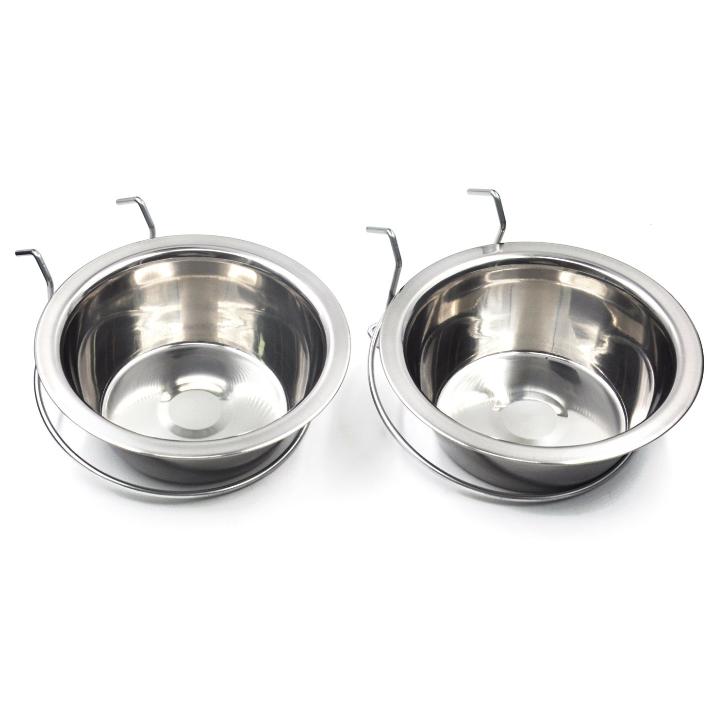 MLCINI Hanging Pet Bowl, Stainless Steel Food Water Bowls Bunny Feeder with Hook for Dogs Cats in Crate Cage Kennel-(L) 21oz/2 Pack