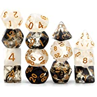 Haxtec 2 Pack DND Dice Set Black Swirl White Ink Polyhedral D&D Dice for Roleplaying Dice Games as Dungeons and Dragons…