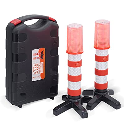 Heliar Early Warning LED Road Flares, Alternative to Roadside Safety Triangle, High Reflective, Far Visible, 2 Pack Kit with Storage Case: Automotive