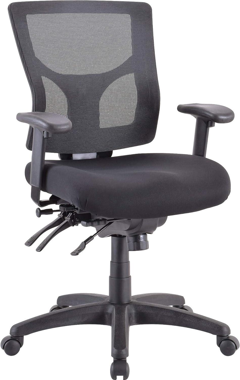 Lorell Multifunctional Mesh Mid-Back Executive Chair, Black