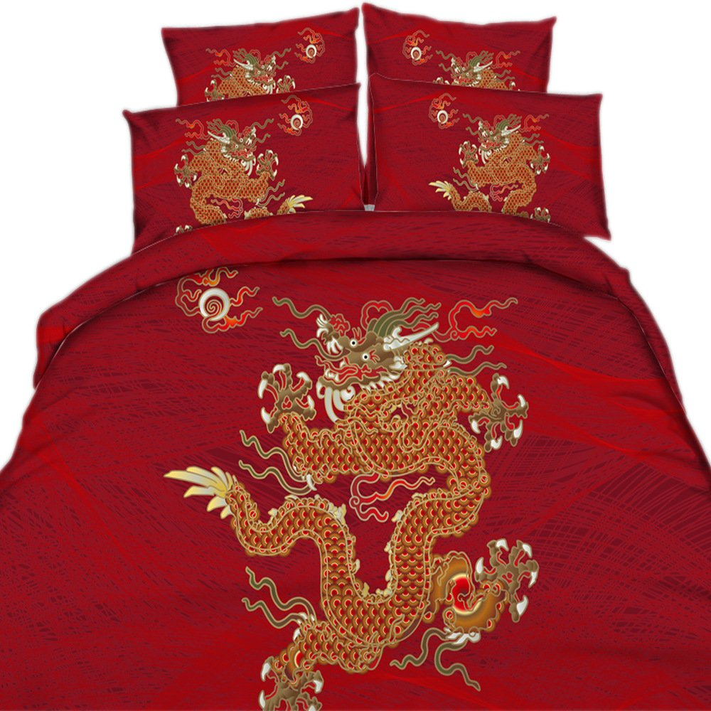 EsyDream 3D Digital Dragon Design Wedding Bedding Sheet Sets King Size,100% Cotton Chinese Style Dragon Red Wedding Bedspreads Sets,Super King Size (4PC/Set) by EsyDream