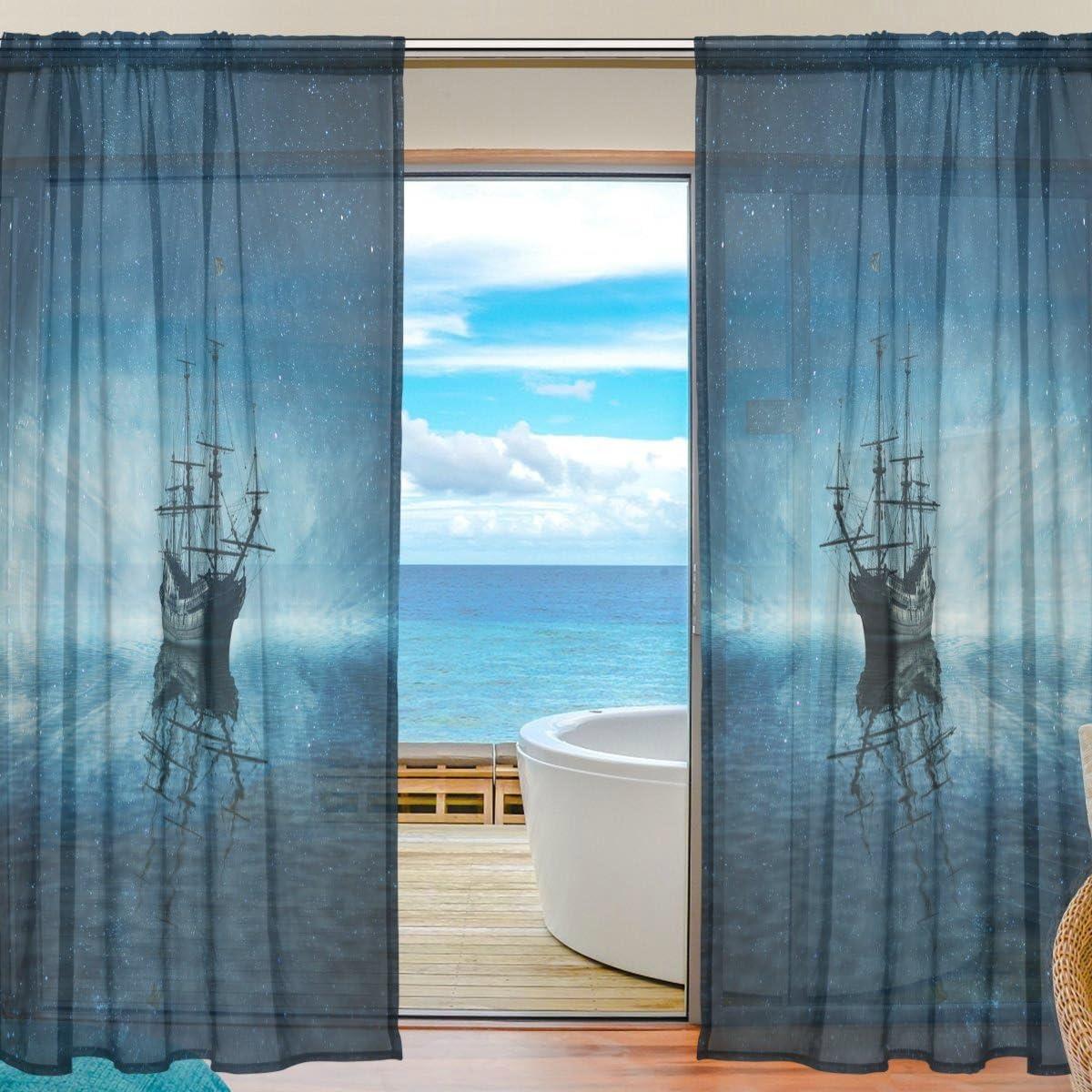 WOZO Ghost Pirate Ship Ocean Sea Window Sheer Curtain Panels 55 x 84