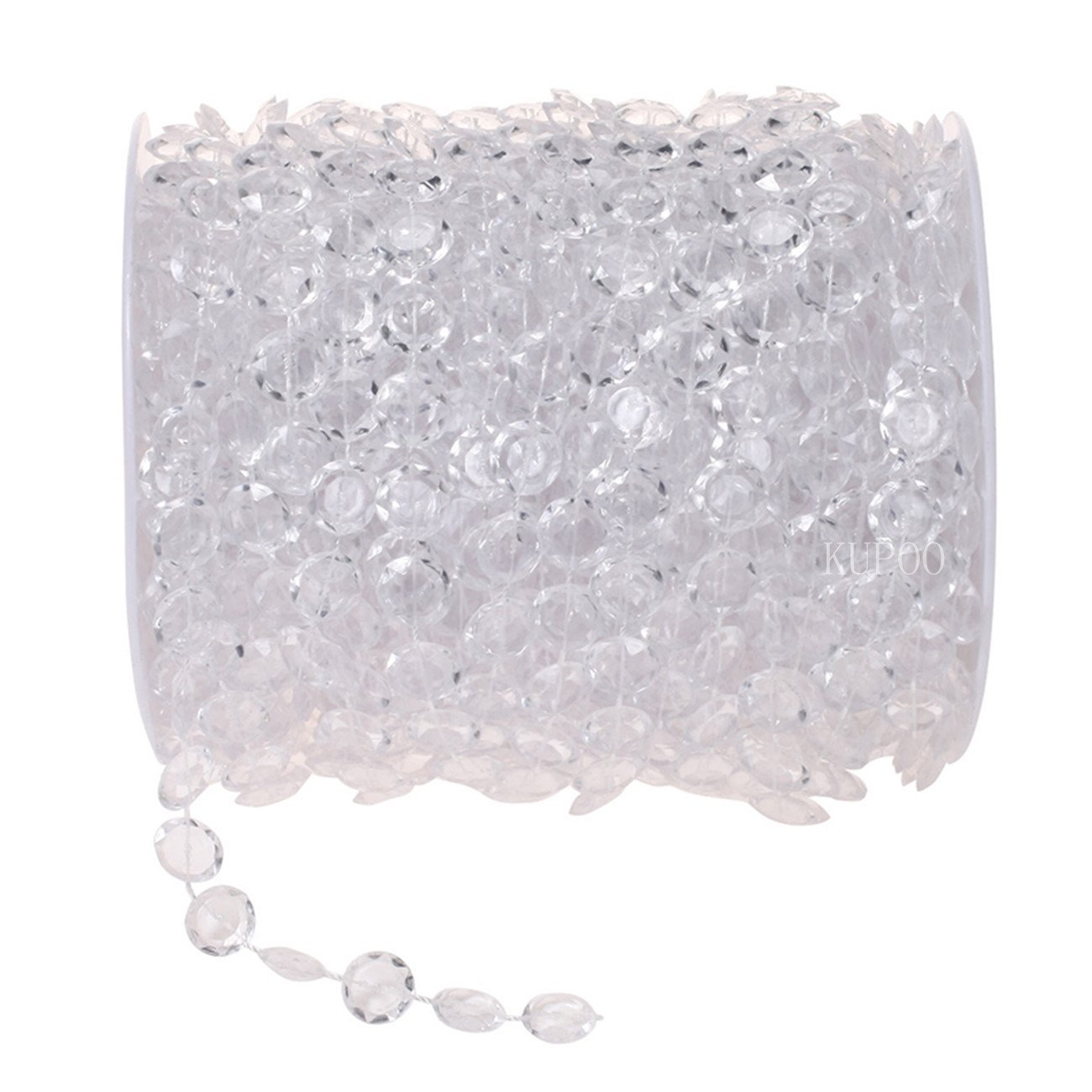 KUPOO 99 ft Clear Crystal Like Beads by the roll - Wedding Decorations (Colorful) CPRL10AB