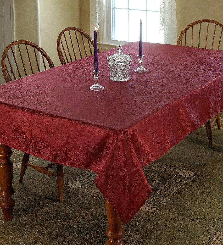 Violet Linen European Damask Design Oblong//Rectangle Tablecloth 60 x 84 Ivory