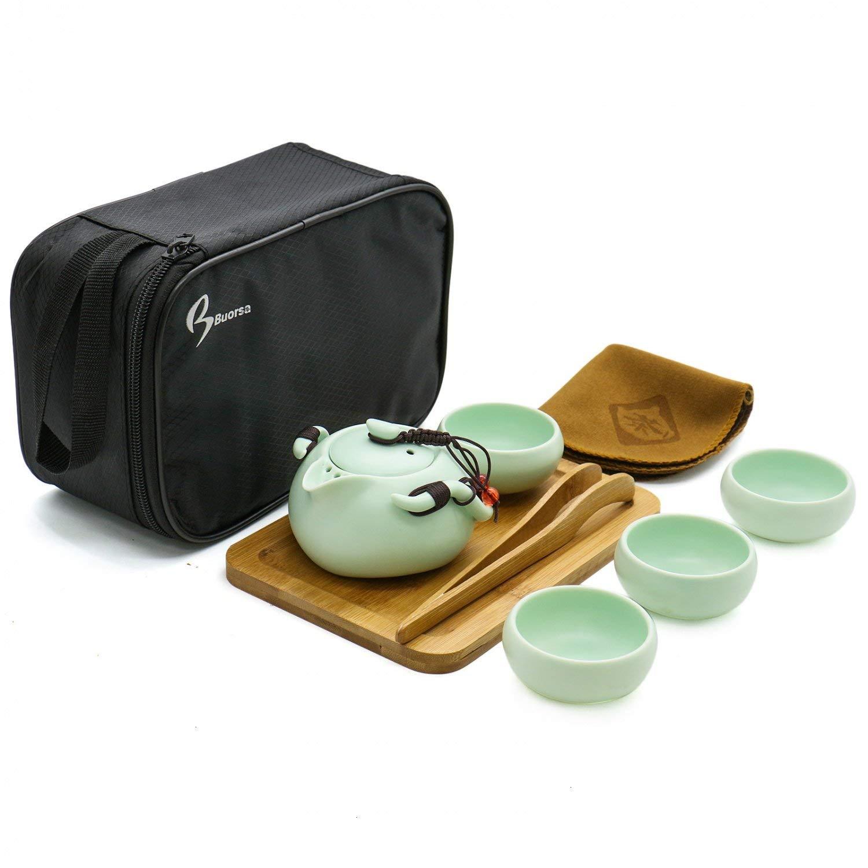 8 Piezas Juego de t/é de Porcelana para Viaje 4 Tazas Hecho a Mano Estilo Vintage Chino//japon/és port/átil Uteruik con Bolsa de Viaje