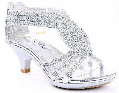 2518ccbc8c09b Fabulous Angel-37K Kids Little Girls Bling Rhinestone Platform Dress Heels  Sandals