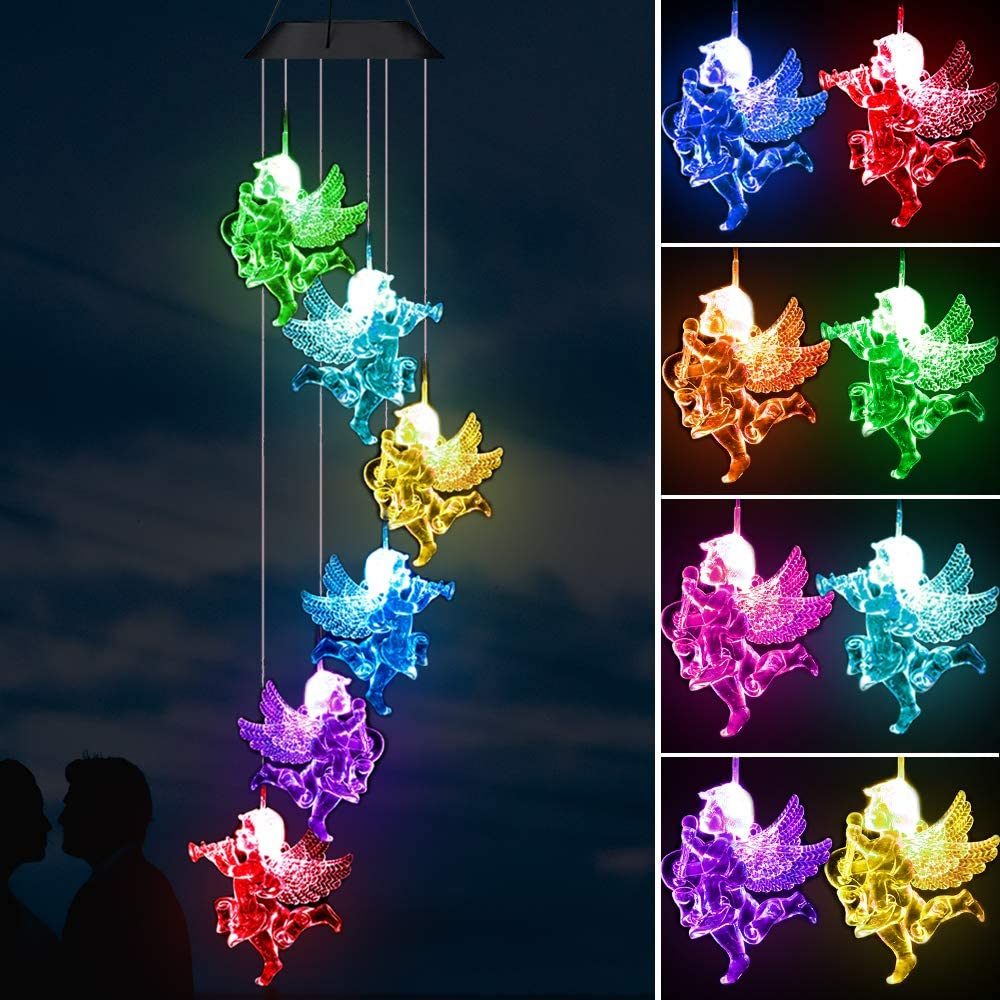 Angel Solar Wind Chimes Lights Outdoor - Waterproof Lucky Angel Solar Light, Solar Powered Changing Color Light Romantic Angel Wind Chime,Gift for Mom,Home,Party,Festival Decor,Night Garden Decoration