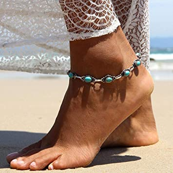 40688e945 Image Unavailable. Image not available for. Color  Nicute Boho Silver Anklet  Turquoise Ankle Bracelets ...