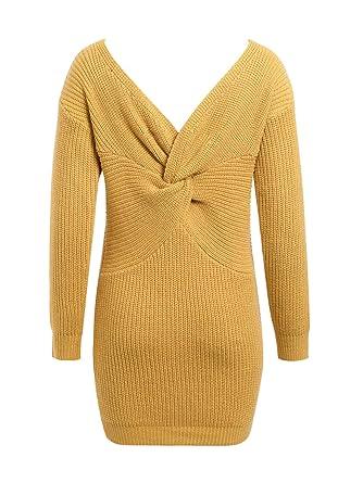 Melegant Damen Herbst Kleid Elegant Knielang Langarm One Shoulder Pullover  Strickkleid Jersey-Kleid Winter ( a08a770c39