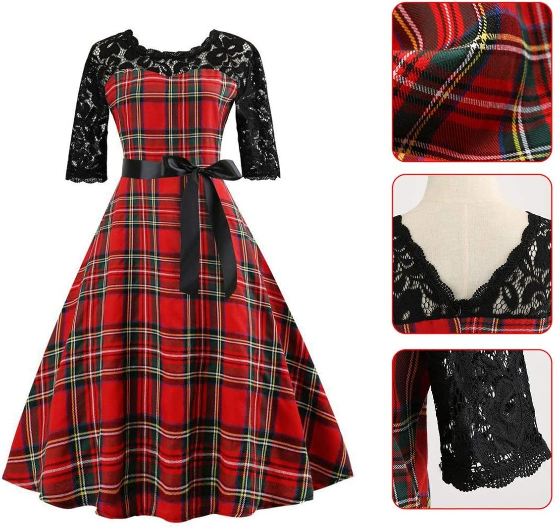 Fashion Womens Casual Dress Retro Lace Plaid Stitching Dress