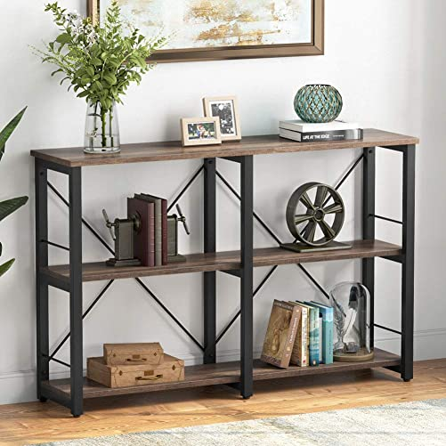 Tribesigns Rustic Entryway Console Table, 3-Tier Vintage Industrial TV Stand, Entertainment Center Media Stand with Storage Shelves, Small Open Bookshelf for Living Room, Light Walnut