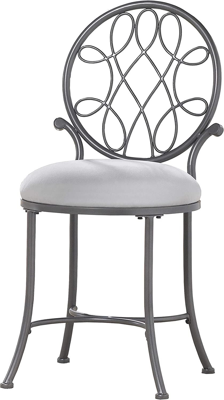 Amazon Com Hillsdale Furniture O Malley Vanity Stool Metallic Gray Furniture Decor