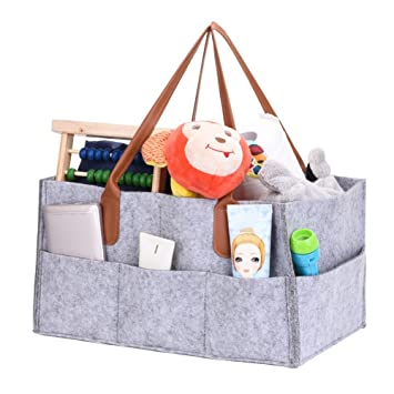 Baby Nappy Storage Bag Foldable Felt Diaper Caddy Storage Bin for Home Car Travel,with Multi Pockets and Changeable Compartments Diaper Caddy Organiser