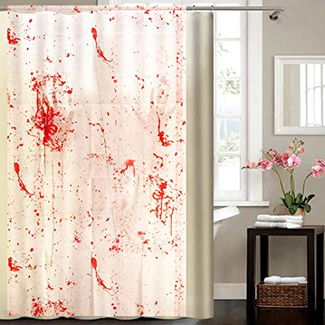 Wensltd Clearance 1 PC Halloween Blood Splatter Shower Curtain Spatter Psycho Horror Bathroom Fabric