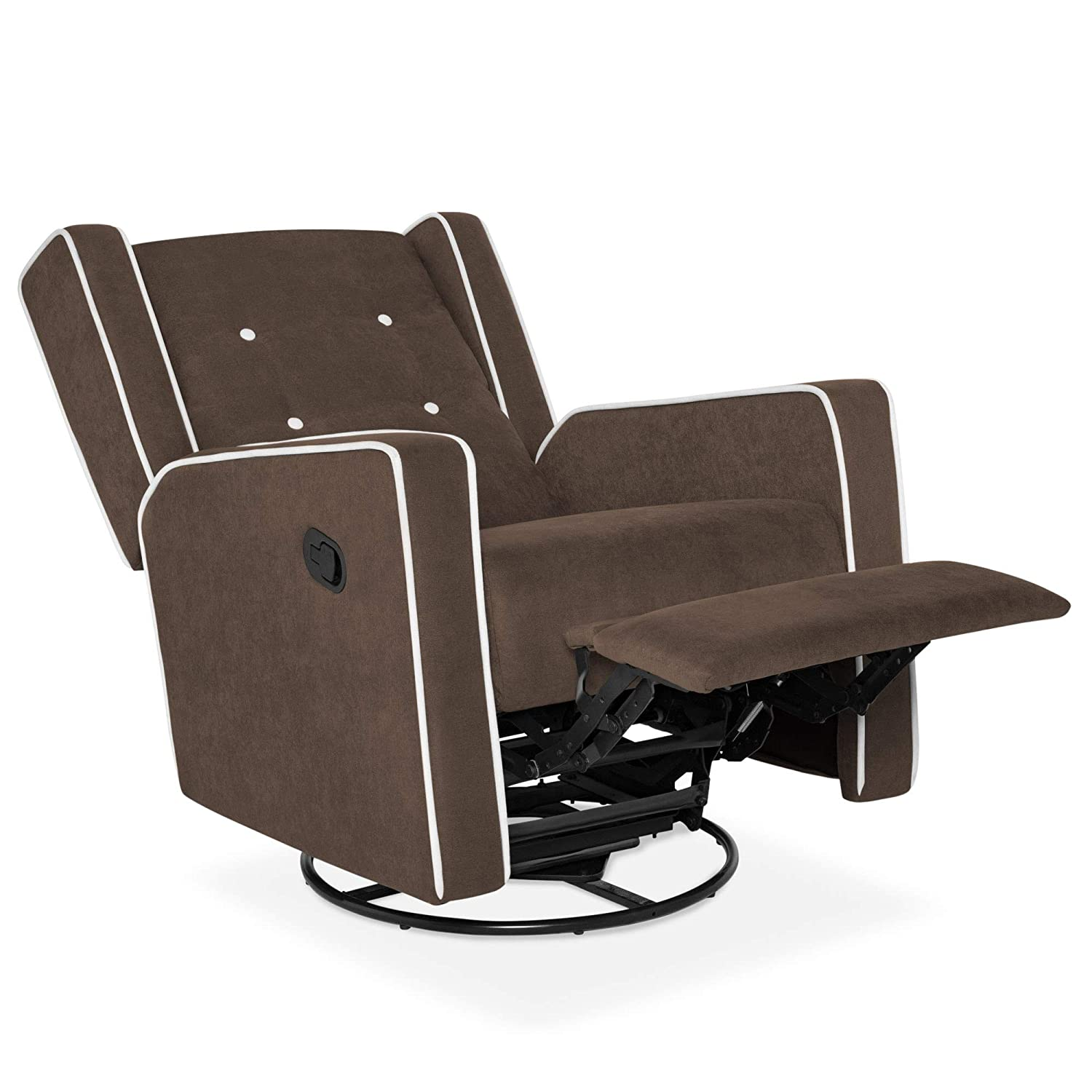 release date: 91014 66eac Best Choice Products Mid-Century Tufted Microfiber Upholstered Glider  Recliner Rocking Chair w/ 360-Degree Swivel - Brown