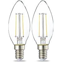Amazon Basics Bombilla LED E14 con Filamento, 2W (equivalente a 25W), Blanco…