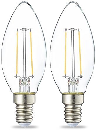 AmazonBasics E14 LED Lampe, Kerzenform, 2.1W (ersetzt 25W), klar ...