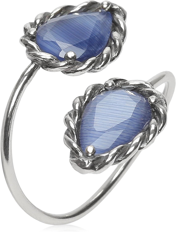 Córdoba Jewels | Sortija en Plata de Ley 925 bañada en óxido con Piedra semipreciosa con diseño Boho Tú y Yo Lágrima Calcedonia