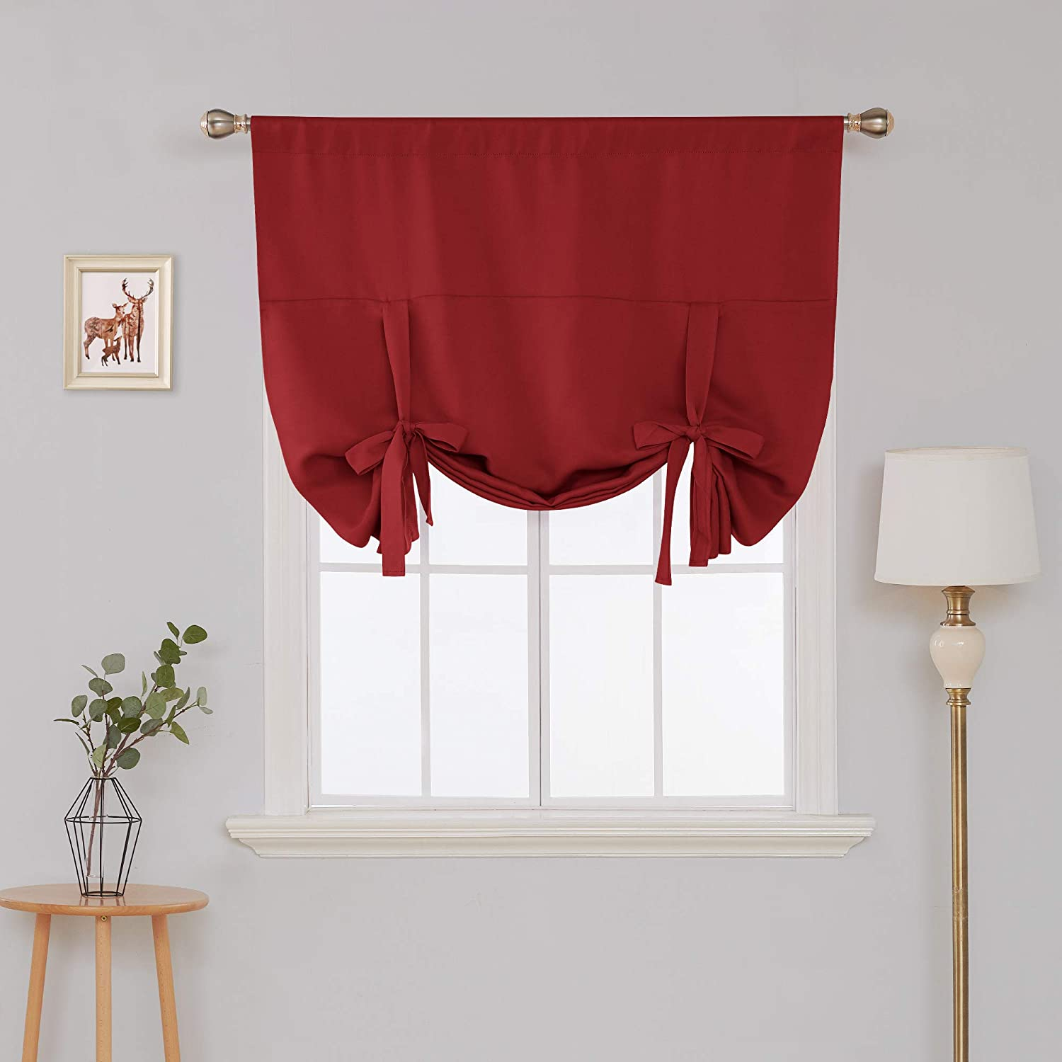 Deconovo Christmas Curtains Rod Pocket Blackout Panel Blackout Small Window Curtain for Bedroom True Red 46W x 63L 1 Panel