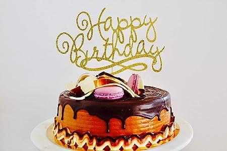 Decoración para tarta de cumpleaños con purpurina dorada y ...