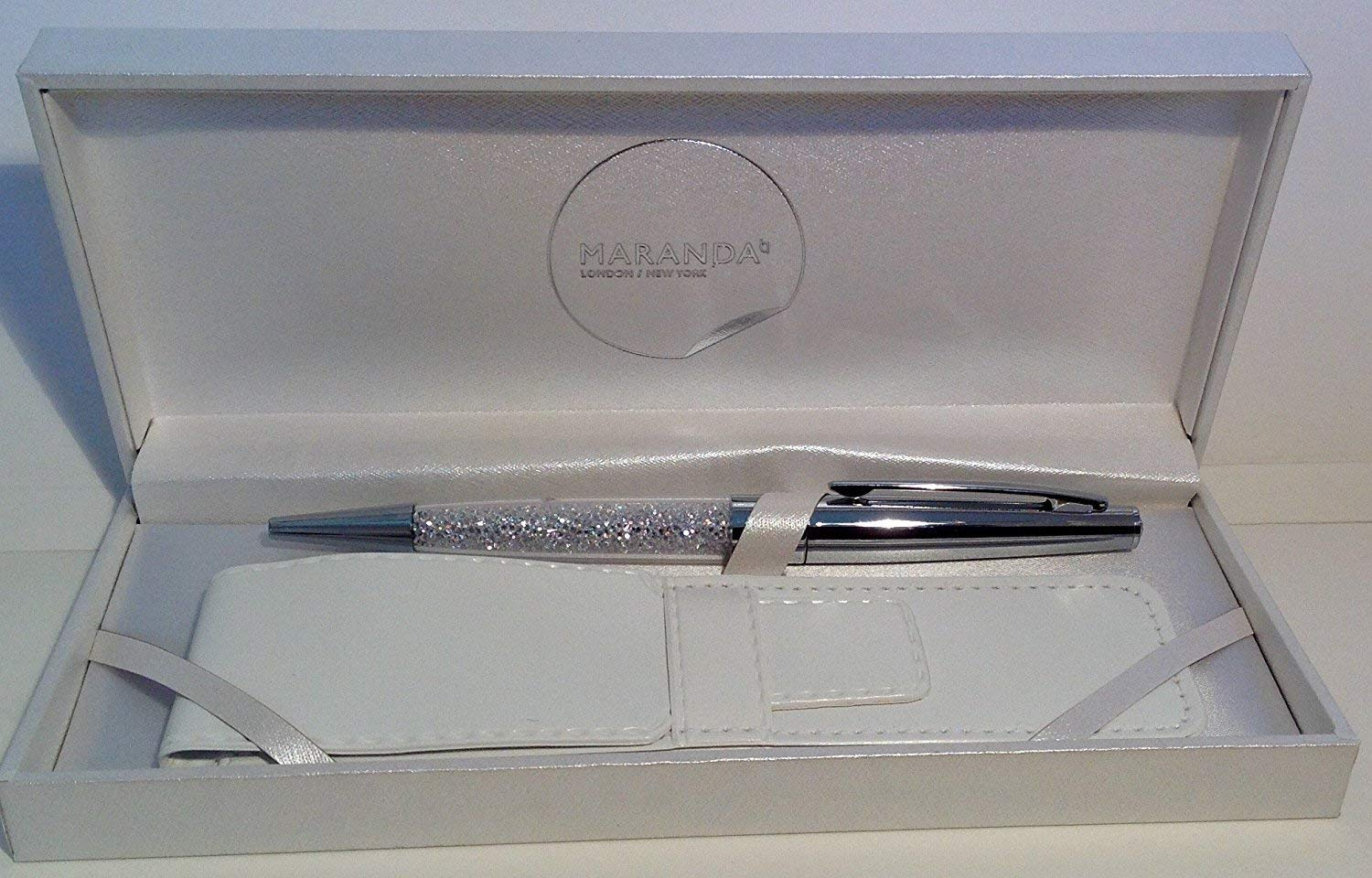 Maranda-Ti Silver Swarovski Crystal Black Ink Ball Pen Gift For Ladies - Lightweight Ballpoint 22g - Silver Case 18 x 8 cms - Luxury Silver Cover